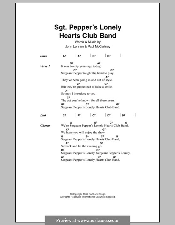 Sgt. Pepper's Lonely Hearts Club Band (The Beatles): Lyrics and chords by John Lennon, Paul McCartney