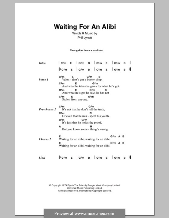 Waiting for an Alibi (Thin Lizzy): Lyrics and chords by Phil Lynott