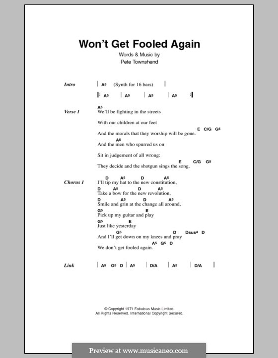 Won't Get Fooled Again (The Who): Lyrics and chords by Peter Townshend