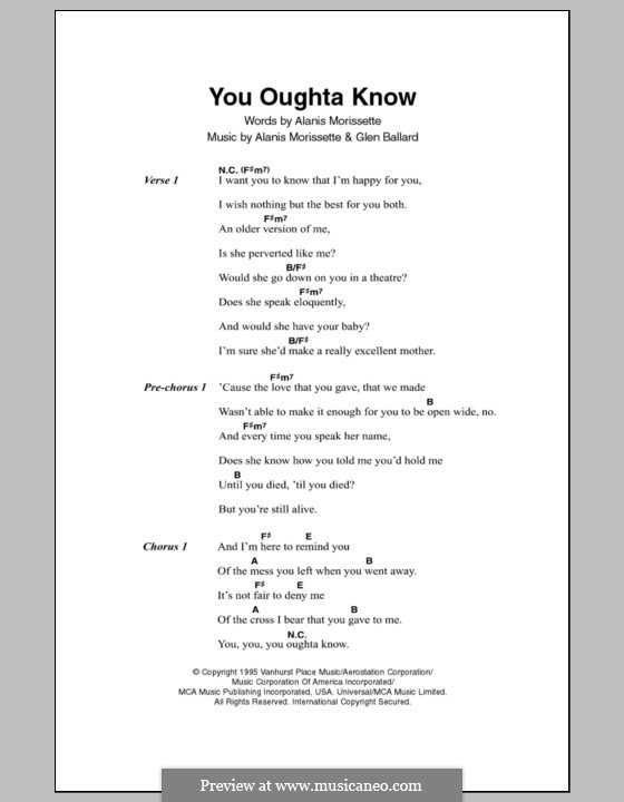You Oughta Know: Lyrics and chords by Glen Ballard