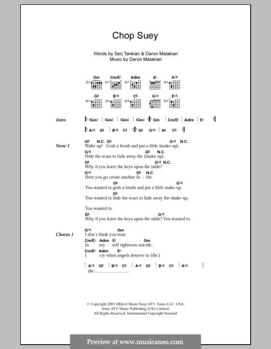 Chop Suey! (System of a Down): Lyrics and chords by Daron Malakian, Serj Tankian