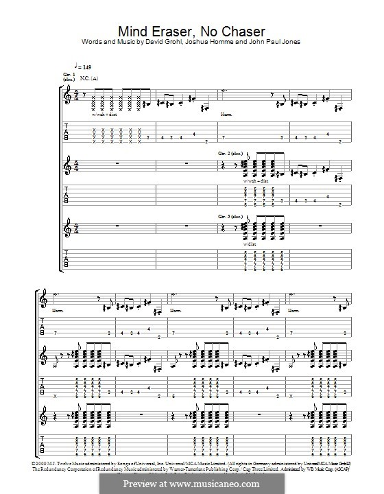 Mind Eraser, No Chaser (Them Crooked Vultures): For guitar with tab by John Paul Jones, David Grohl, Joshua Homme