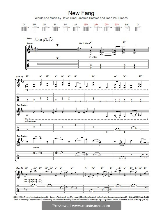 New Fang (Them Crooked Vultures): For guitar with tab by John Paul Jones, David Grohl, Joshua Homme
