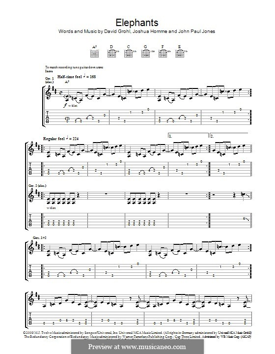 Elephants (Them Crooked Vultures): For guitar with tab by John Paul Jones, David Grohl, Joshua Homme