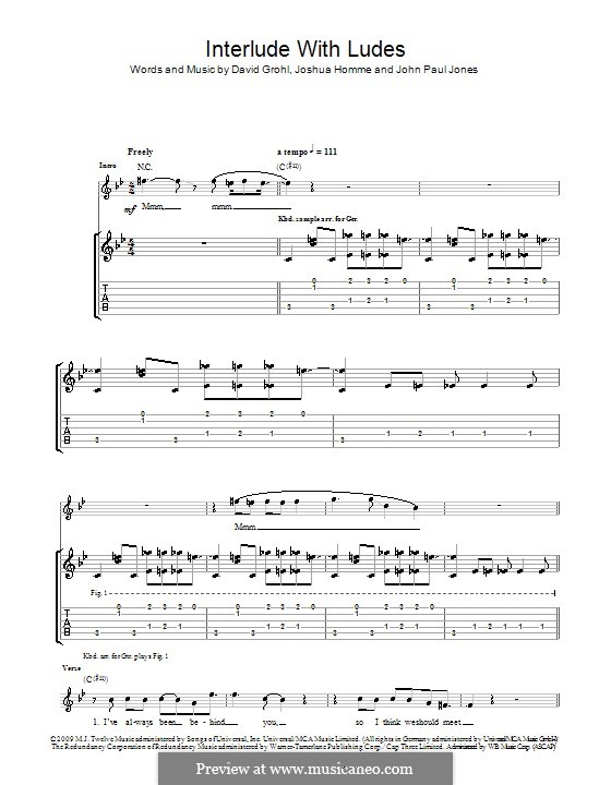 Interlude with Ludes (Them Crooked Vultures): For guitar with tab by John Paul Jones, David Grohl, Joshua Homme
