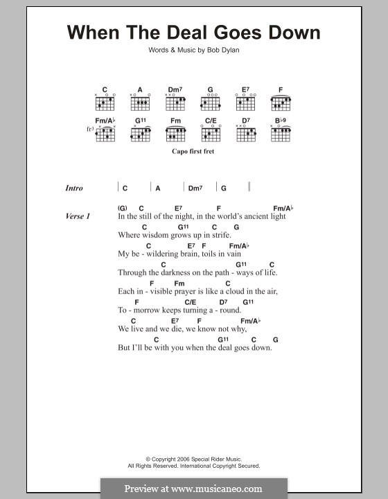 When the Deal Goes Go Down: Lyrics and chords by Bob Dylan