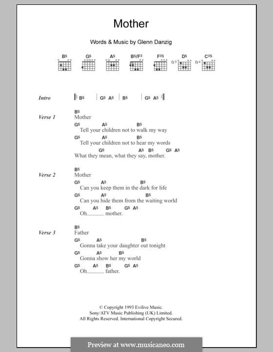 Mother: Lyrics and chords by Glenn Danzig