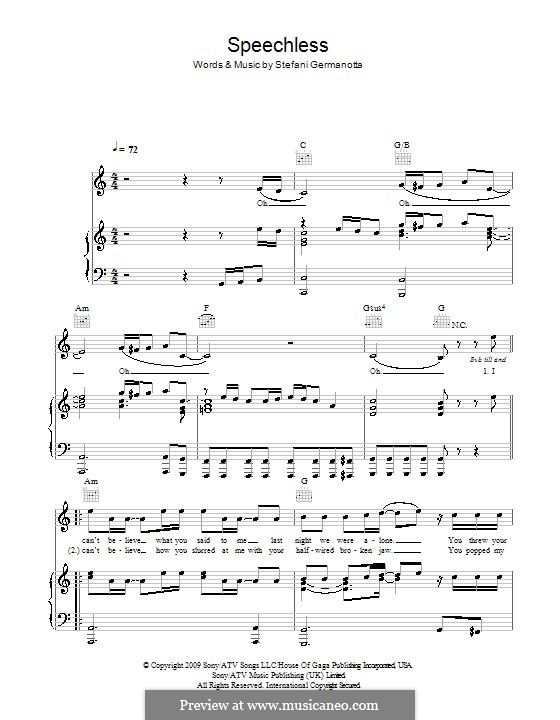 Speechless Lady Gaga By S Germanotta Sheet Music On Musicaneo