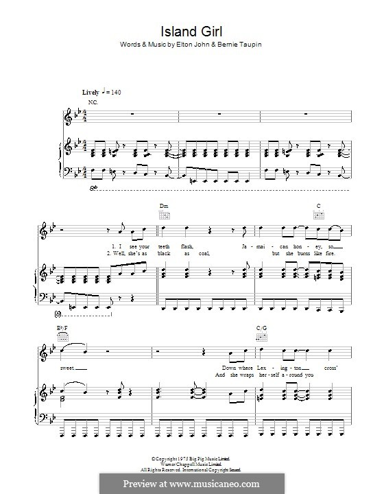 Island Girl: For voice and piano (or guitar) by Elton John