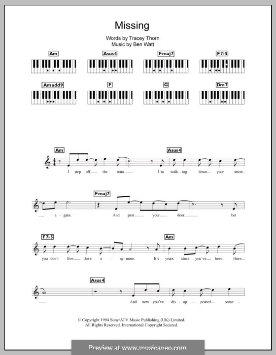 Missing (Everything But the Girl): For keyboard by Benjamin Watt