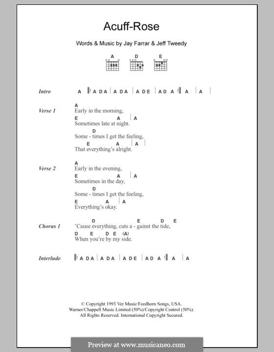 Acuff-Rose (Uncle Tupelo): Lyrics and chords by Jay Farrar, Jeff Tweedy