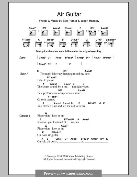 Air Guitar: Lyrics and chords by Ben Parker, Jason Hazeley