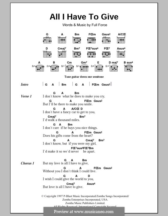All I Have to Give (Backstreet Boys): Lyrics and chords by Full Force