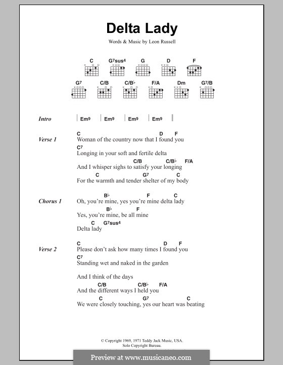 Delta Lady: Lyrics and chords by Leon Russell