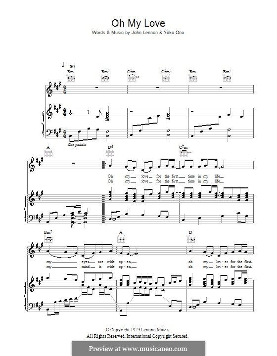 Oh My Love: For voice and piano (or guitar) by John Lennon, Yoko Ono