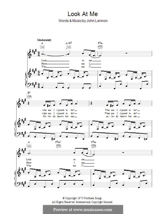 Look at Me: For voice and piano (or guitar) by John Lennon
