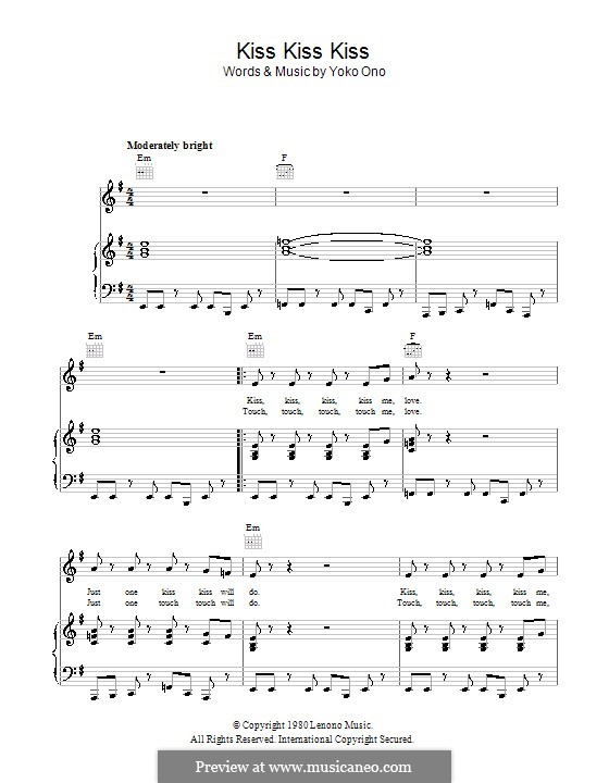 Kiss, Kiss, Kiss: For voice and piano (or guitar) by Yoko Ono