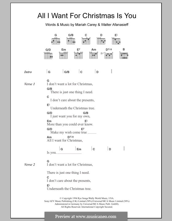 All I Want for Christmas is You: Lyrics and chords by Mariah Carey, Walter Afanasieff