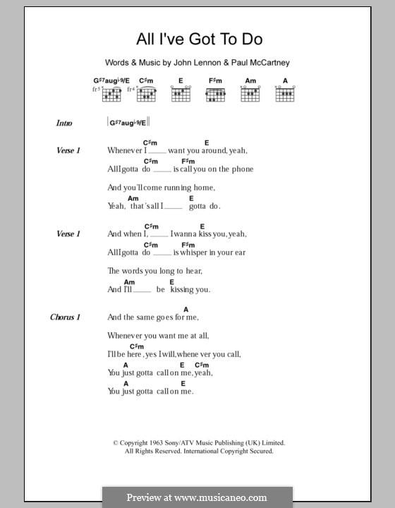 All I've Got to Do (The Beatles): Lyrics and chords by John Lennon, Paul McCartney