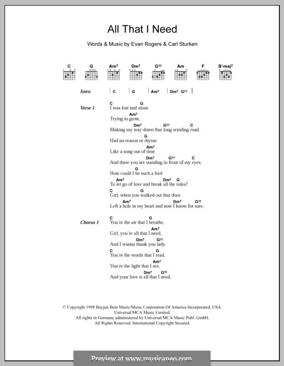 All That I Need (Boyzone): Lyrics and chords by Carl Sturken, Evan Rogers