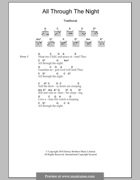 All Through the Night: Lyrics and chords by folklore