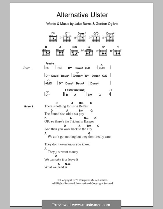 Alternative Ulster (Stiff Little Fingers): Lyrics and chords by Gordon Ogilvie, Jake Burns