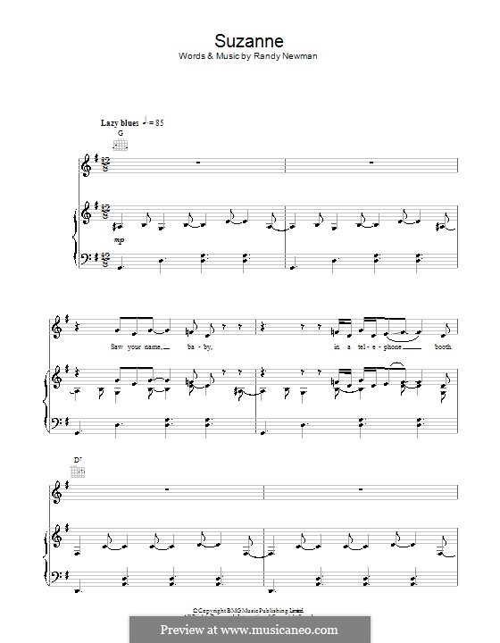 Suzanne: For voice and piano (or guitar) by Randy Newman
