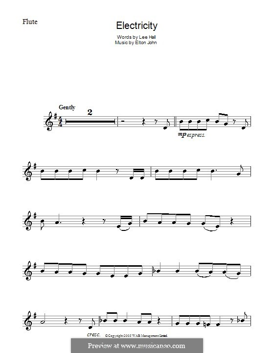 Electricity: For flute by Elton John