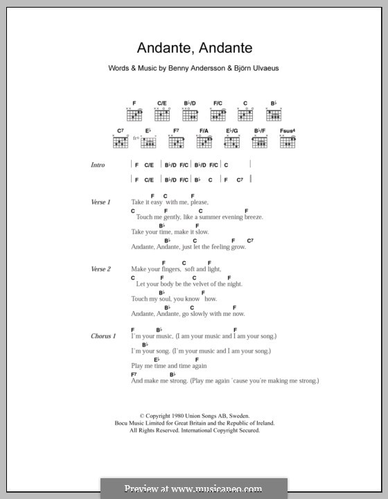 Andante, Andante (ABBA): Lyrics and chords by Benny Andersson, Björn Ulvaeus