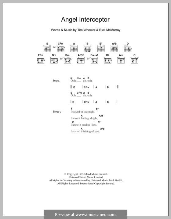 Angel Interceptor (Ash): Lyrics and chords by Tim Wheeler, Rick McMurray