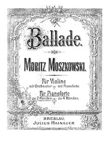 Two Concert Pieces for Violin and Piano, Op.16: Version for piano by Moritz Moszkowski