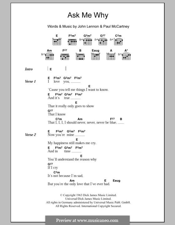 Ask Me Why (The Beatles): Lyrics and chords by John Lennon, Paul McCartney