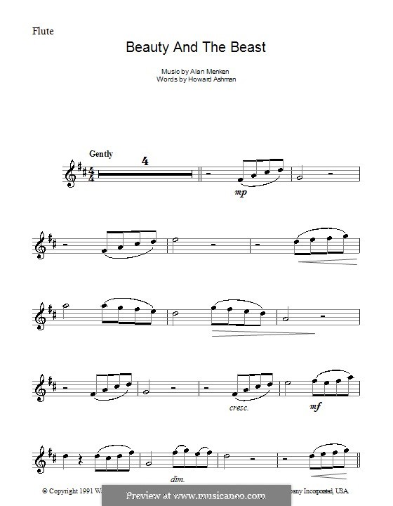 Beauty and the Beast (Celine Dion and Peabo Bryson): For flute by Alan Menken