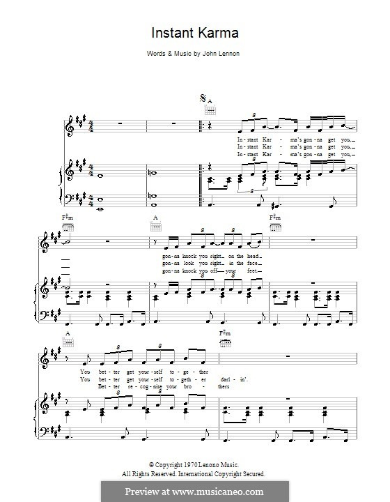 Instant Karma By J Lennon Sheet Music On Musicaneo