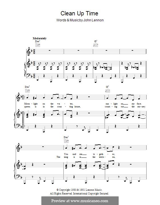 Clean Up Time: For voice and piano (or guitar) by John Lennon