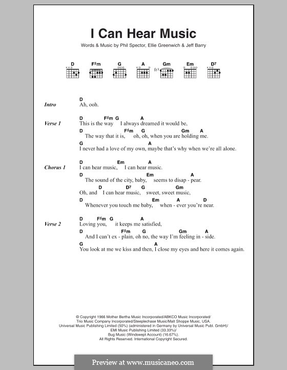 I Can Hear Music (The Beach Boys): Lyrics and chords by Ellie Greenwich, Jeff Barry, Phil Spector