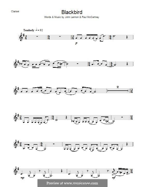 Blackbird (The Beatles): For clarinet by John Lennon, Paul McCartney