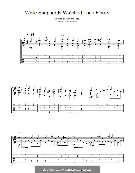 While Shepherds Watched Their Flocks: For guitar by folklore