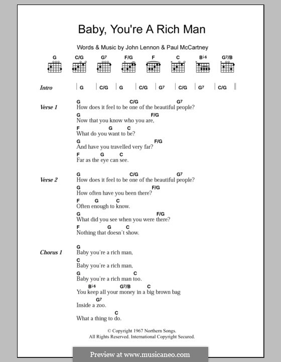 Baby You're a Rich Man (The Beatles): Lyrics and chords by John Lennon, Paul McCartney