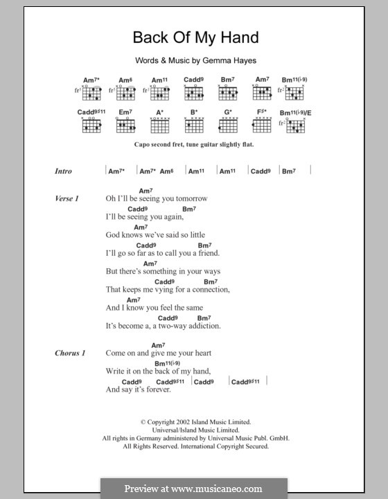 Back of My Hand: Lyrics and chords by Gemma Hayes