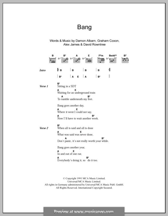 Bang (Blur): Lyrics and chords by Alex James, Damon Albarn, David Rowntree, Graham Coxon