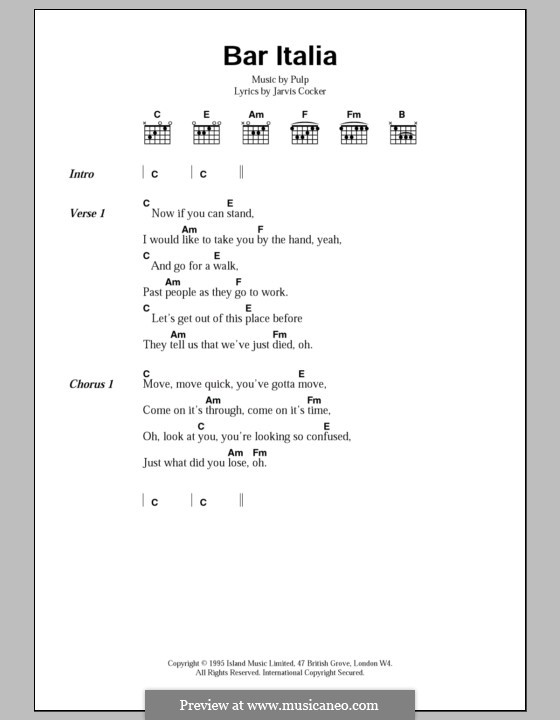 Bar Italia: Lyrics and chords by Pulp