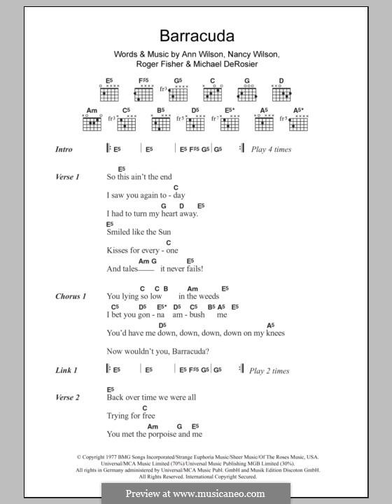 Barracuda (Heart): Lyrics and chords by Ann Wilson, Michael Derosier, Nancy Wilson, Roger Fisher