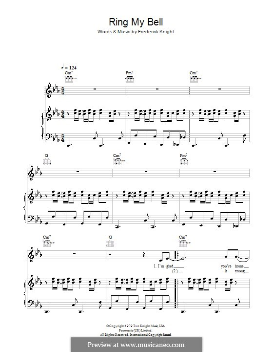 Ring My Bell (Anita Ward): For voice and piano (or guitar) by Frederick Knight