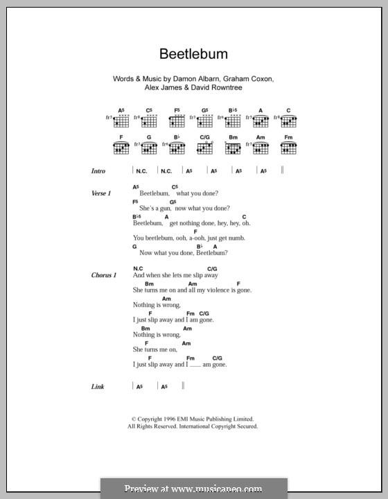 Beetlebum (Blur): Lyrics and chords by Alex James, Damon Albarn, David Rowntree, Graham Coxon