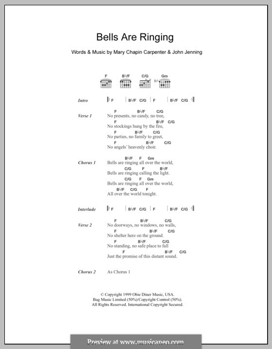 Bells Are Ringing: Lyrics and chords by John Jennings, Mary Chapin Carpenter