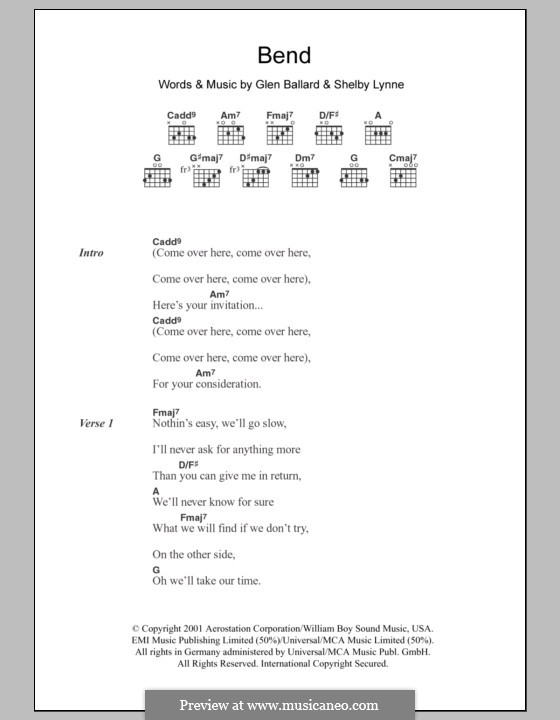 Bend: Lyrics and chords by Glen Ballard, Shelby Lynne
