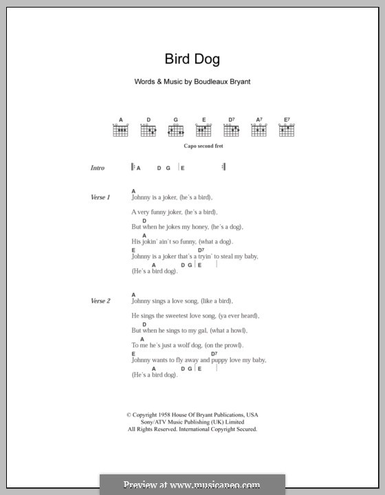 Bird Dog (The Everly Brothers): Lyrics and chords by Boudleaux Bryant