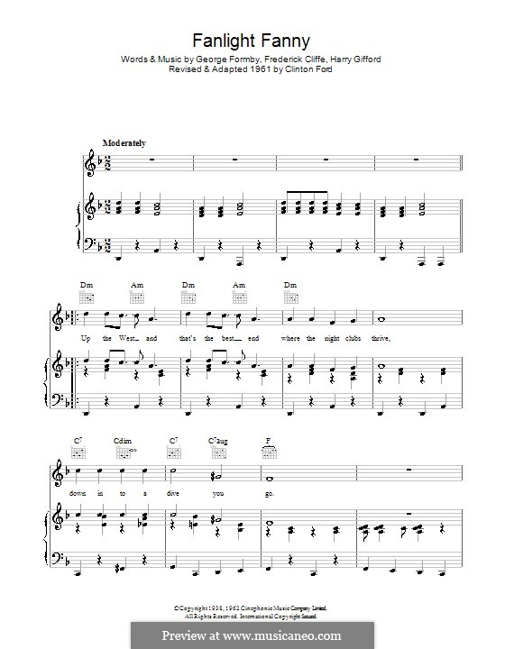 Fanlight Fanny: For voice and piano (or guitar) by Clinton Ford, Frederick Cliffe, George Formby, Harry Gifford