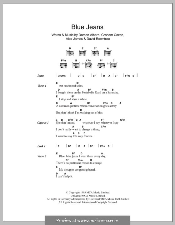 Blue Jeans (Blur): Lyrics and chords by Alex James, Damon Albarn, David Rowntree, Graham Coxon